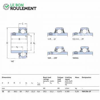 30x62x38.1 mm Accessoire de palier E2-YAR206-2F-SKF